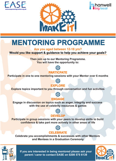 Hanwell big local Youth Mentoring Scheme poster